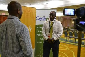 Shernon Osepa, the Curacao-born manager of regional affairs for the Internet Society (ISOC) Latin America and the Caribbean speaks with media at CaribNOG 8, Hilton Curacao, Willemstad, September 30. PHOTO: GERARD BEST
